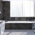 dunkle fliesen bad badezimmer
