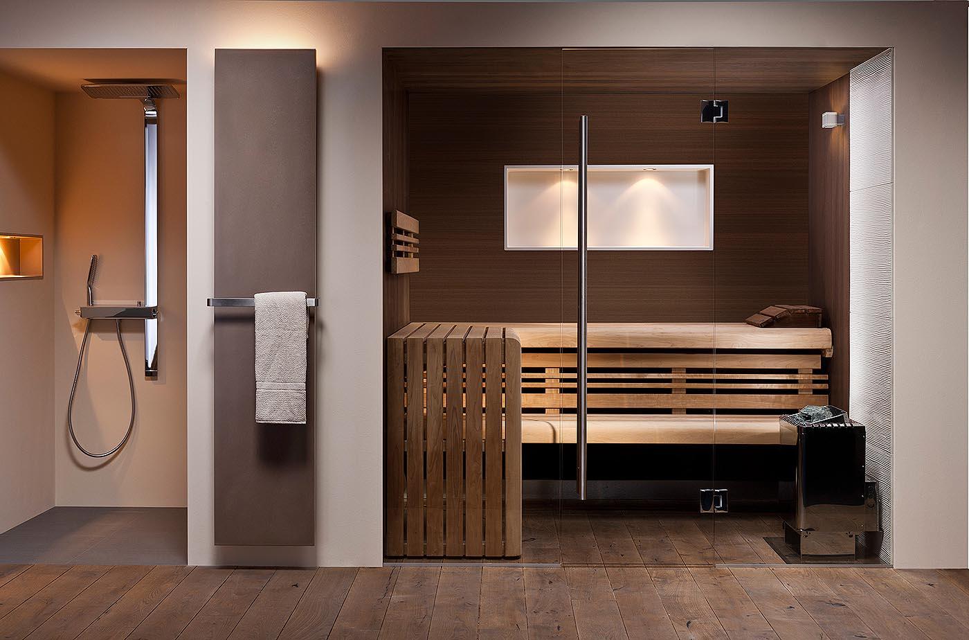 Mit einer eingebauten Sauna holst du dir den Wellness-Urlaub nach Hause. Quelle: corso sauna manufaktur