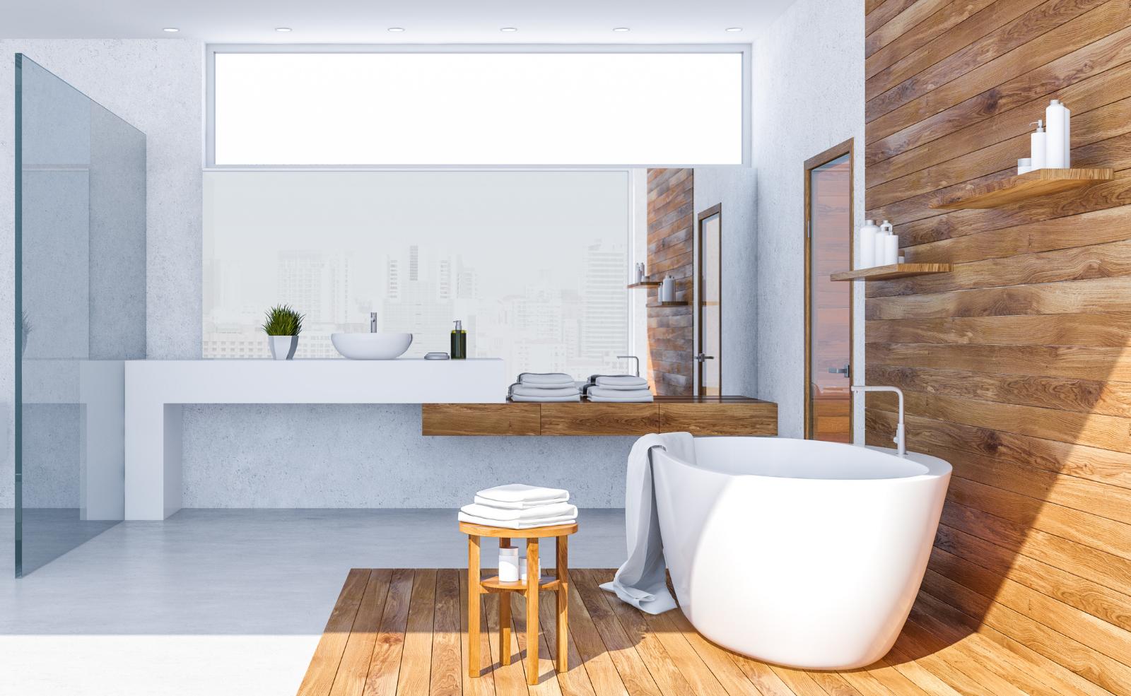 Holz kannst du sowohl für die Bad-Gestaltung, als auch für die Bad-Möbel verwenden