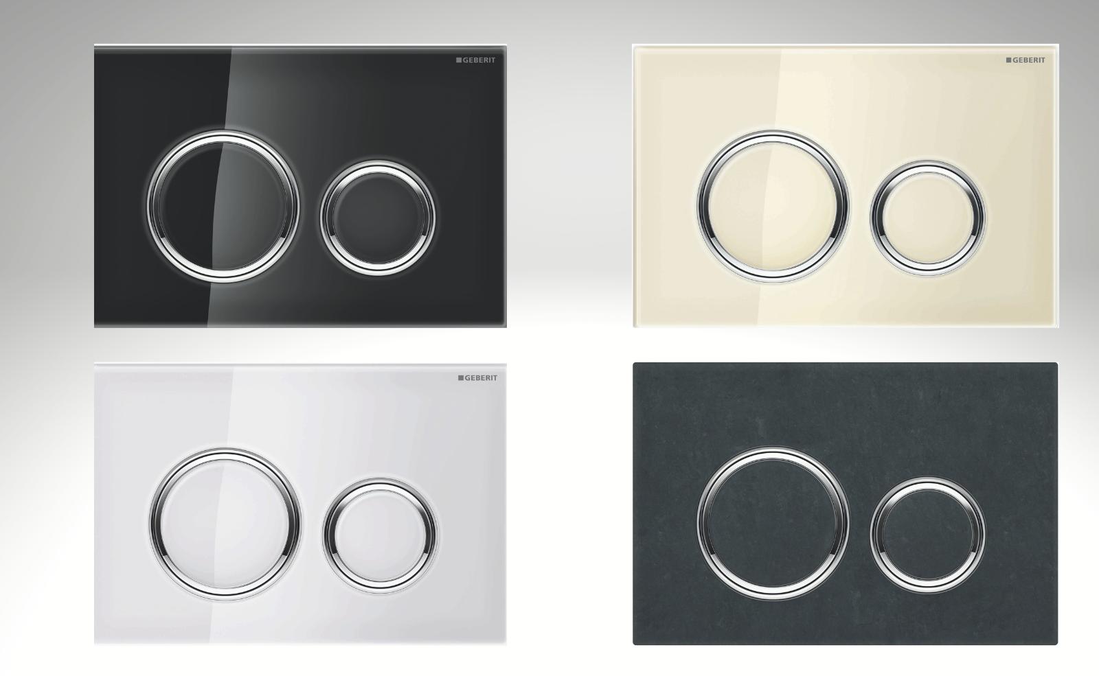 WC-Betätigungsplatten Sigma21 von Geberit in den Farben (von links oben) Glas Schwarz, Glas Weiß, Glas Sand und Mustang Schiefer. Quelle: Geberit